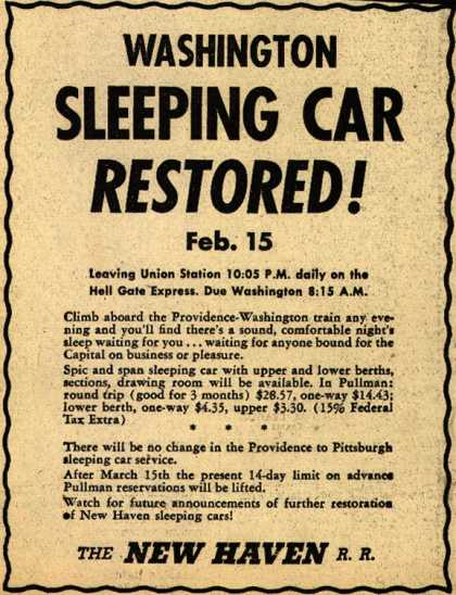 New Haven Railroad's Washington Sleeping Car – Washington Sleeping Car Restored (1945)