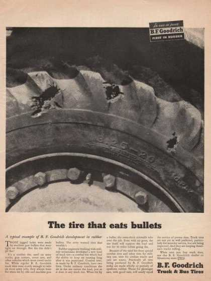 Tire That Eats Bullets Bf Goodrich (1944)