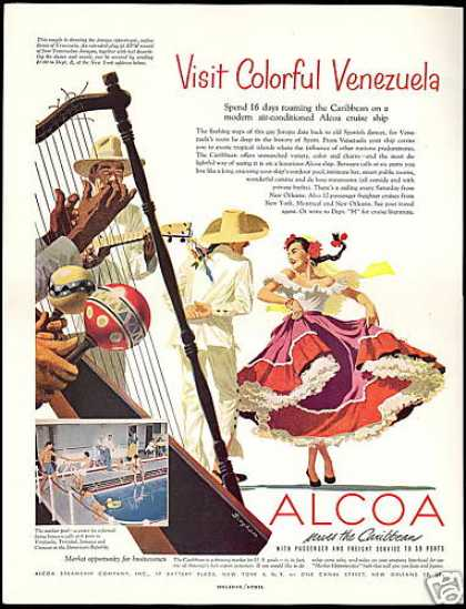 Alcoa Steamship Co Venezuela Bingham Art (1954)