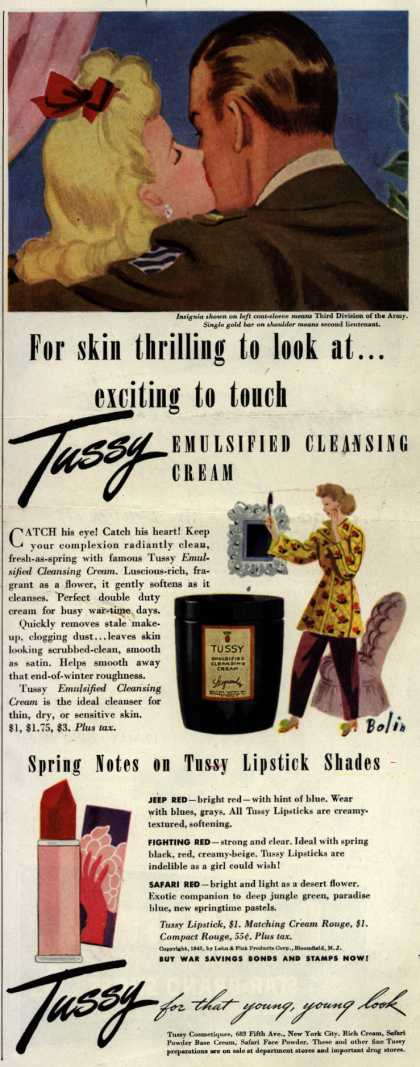Lehn & Fink Products Corp.'s Tussy Cosmetics – For skin thrilling to look at...exciting to touch – Tussy (1943)