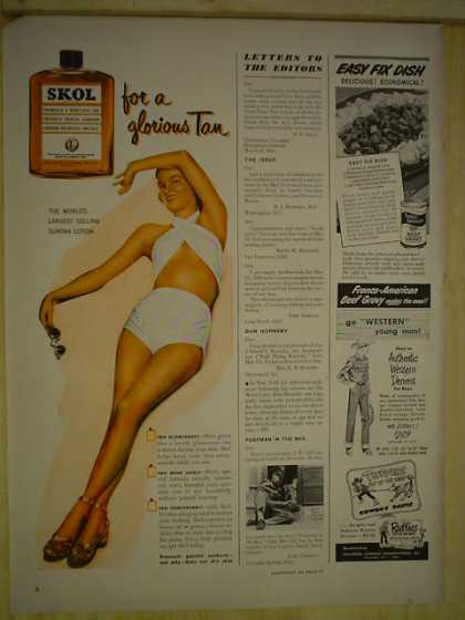 Skol Tanning Lotion for a glorious tan World's largest selling suntan lotion (1950)