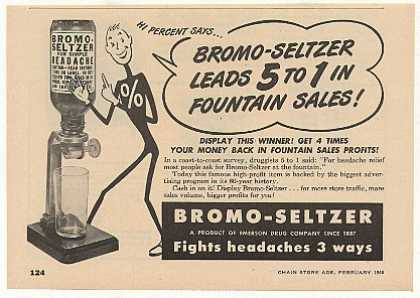 Bromo-Seltzer Fountain Dispenser (1949)