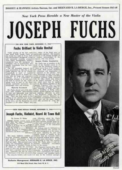 Joseph Fuchs Photo Violinist Booking (1945)