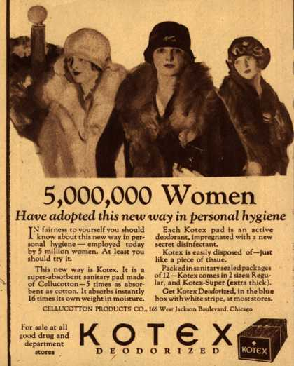 Cellucotton Products Company's Sanitary Napkins – 5,000,000 Women Have adopted this new way in personal hygiene (1925)