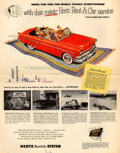 Hertz Rent-A-Car System's Hertz – More fun for the whole family everywhere with that magic Hertz Rent-A-Car service (1954)