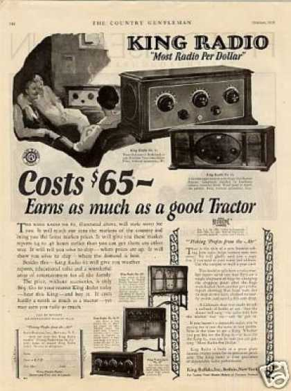 King Radio Ad Models 61, 62, 63, 61-h, 10 (1926)