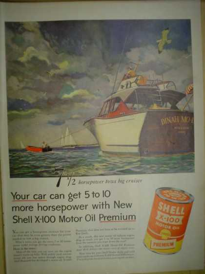 Shell X-100 Premium Motor Oil. Boat theme. Dyna Mo (1955)