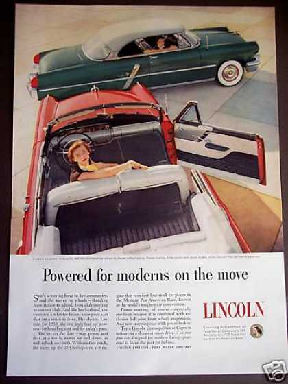 Red Lincoln Convertible Classic Car (1953)