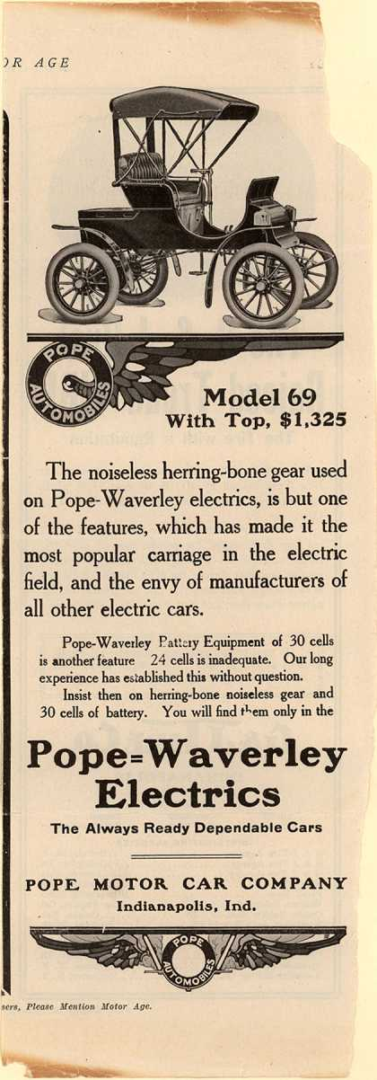 Pope Motor Car Co.'s Pope Waverly Electrics – Model 69 with Top, $1,325