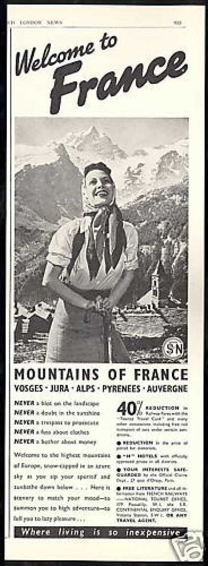 France Travel Pretty Woman Photo Mountain (1938)