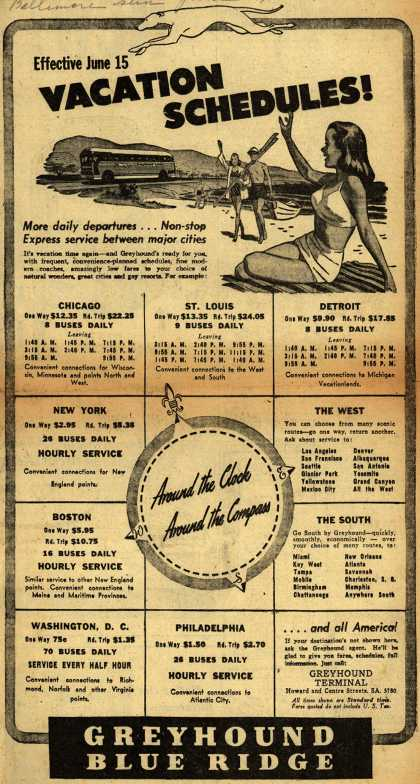 Greyhound's Vacation Travel – Effective June 15 Vacation Schedules (1947)