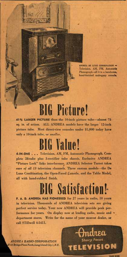 Andrea Radio Corporation's Andrea De Luxe Combinations – Big Picture! Big Value! Big Satisfaction (1947)