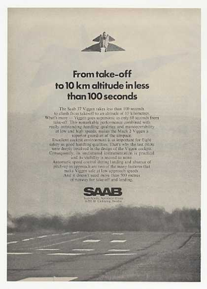 Saab 37 Viggen Aircraft 10 km 100 Seconds Photo (1972)