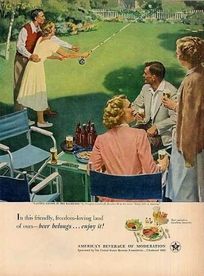 "Beer Belongs Ad ""Casting Lesson In Backyard"" (1952)"