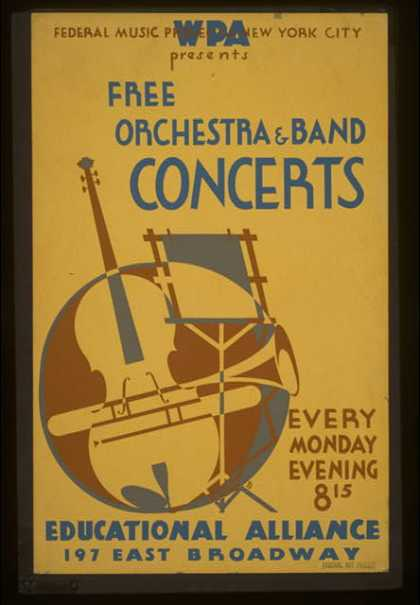 WPA Federal Music Project of New York City presents free orchestra & band concerts – Educational Alliance, 197 East Broadway. (1936)