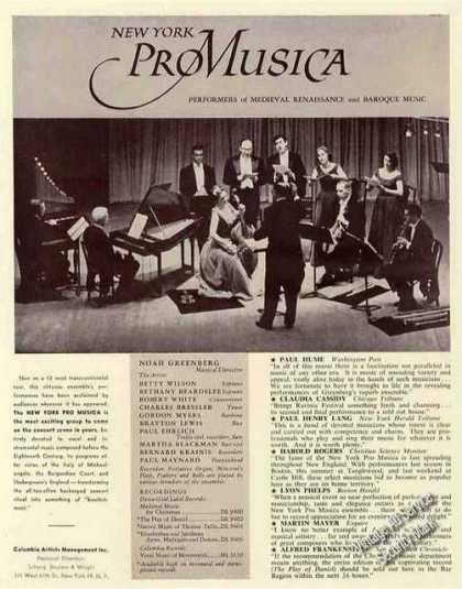 New York Promusica Group Photo Rare Booking (1960)