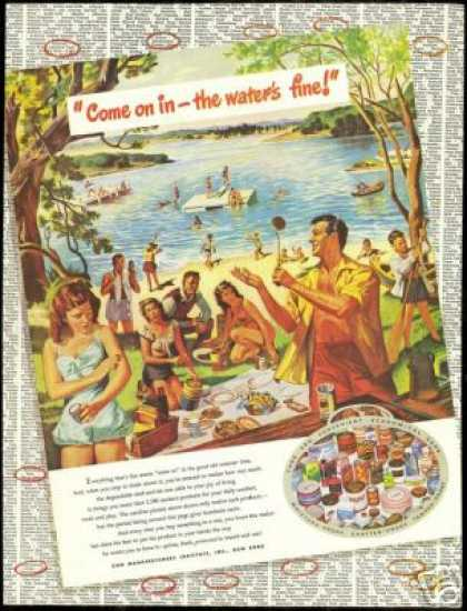 Summer Lake Party Art Tin Cans Institute (1948)