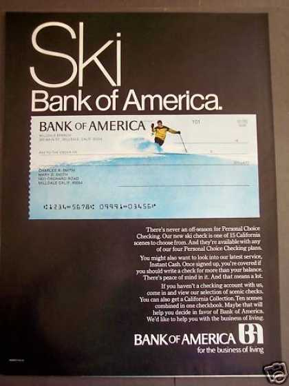 Bank of America Checks With Ski Scenes (1970)