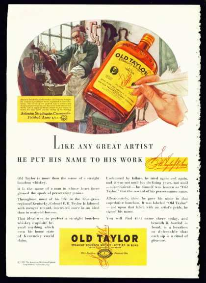 Old Taylor Bourbon Whiskey Ad Antonio Stradivari (1935)