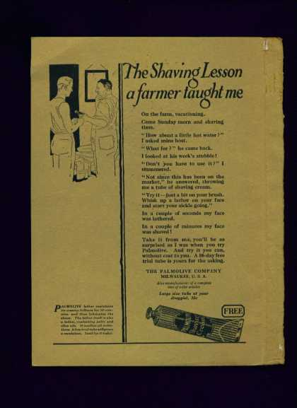 Palmolive Shaving Cream Ad Shaving Lesson (1922)