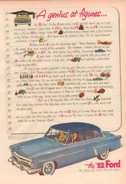 Ford – Fordomatic White Sidewalls – A genius at figures (1952)