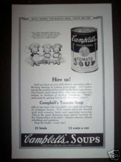 Original Campbell's Soup Kid Chefs Ad Tomato (1923)