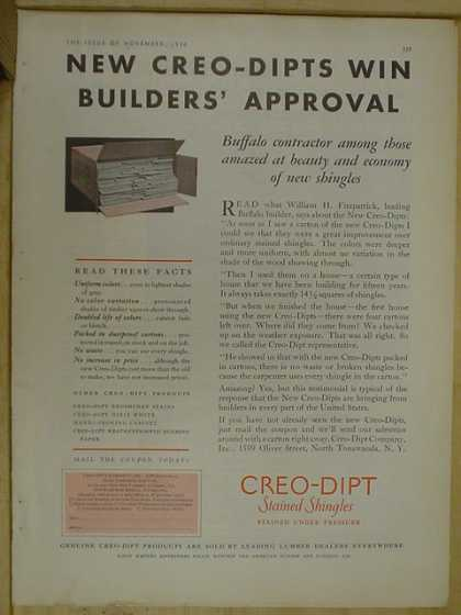 Creo Dipt stained shingles. Win builders approval (1930)