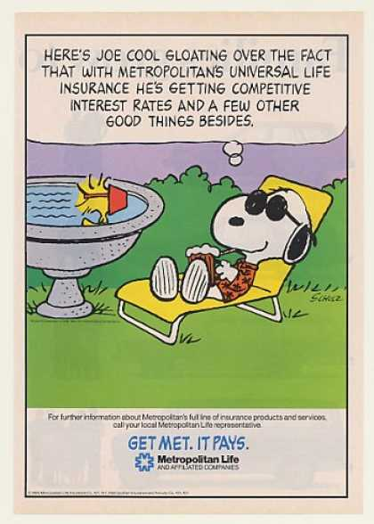 Snoopy Joe Cool Woodstock Met Life Insurance (1985)