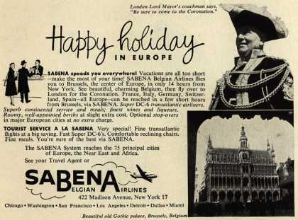 Sabena Belgian Airline's Europe – Happy holiday in Europe
