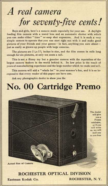 Kodak's Cartridge Premo camera, No. 00 – A real camera for seventy-five cents (1916)