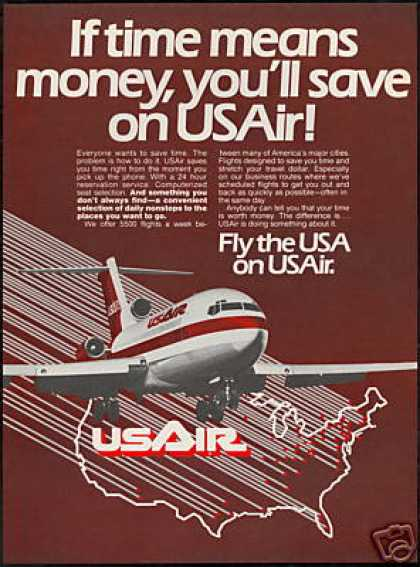 USAir US Air Airlines Airplane Vintage (1981)