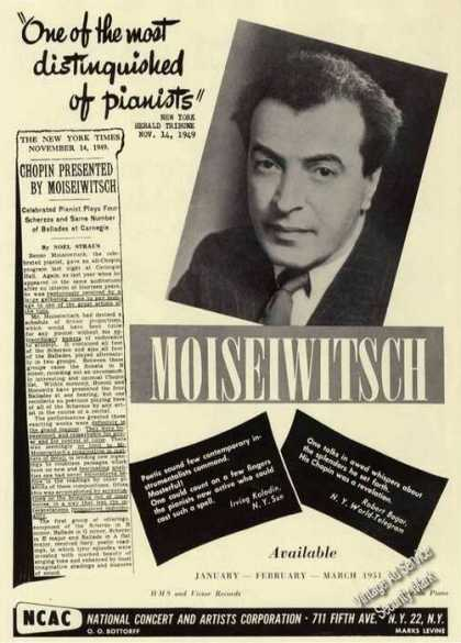 Benno Moiseiwitsch Photo Piano Rare (1950)