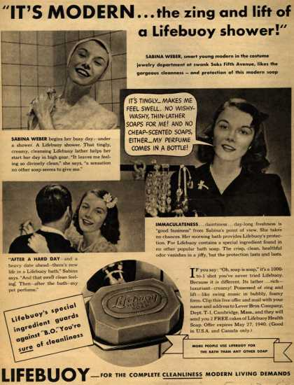 "Lever Brothers Company's Lifebuoy Health Soap – ""It's Modern... the zing and lift of a Lifebuoy shower!"" (1940)"