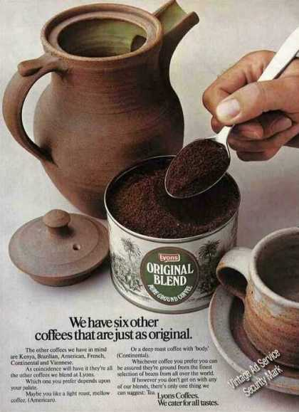 Lyons Original Blend Pure Ground Coffee Uk (1975)