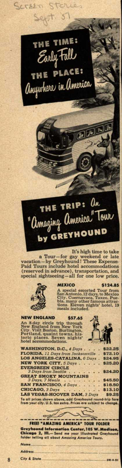 Greyhound's Amazing America Tours – The Time: Early Fall, The Place: Anywhere in America (1951)