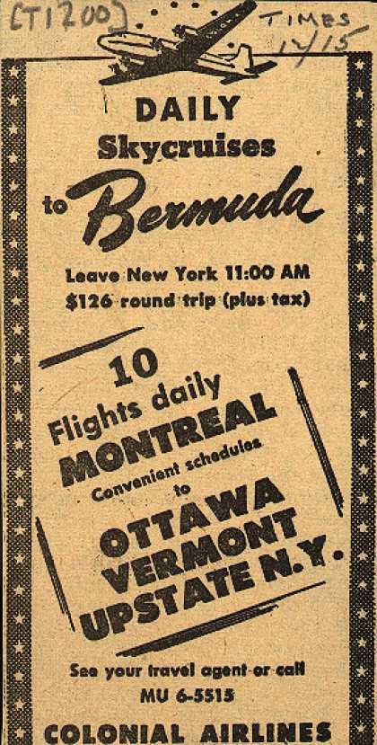 Colonial Airline's Skycruises – Daily Skycruises to Bermuda (1947)