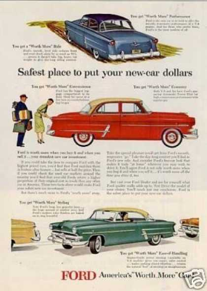 "Ford Cars Ad ""Safest Place To Put... (1953)"