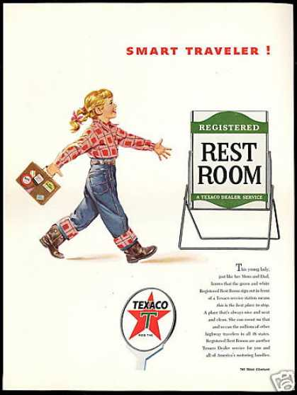 Texaco Gas Station Rest Room Cute Girl Vintage (1954)