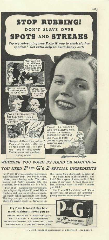 P and G White Naphtha Soap for Clothes (1936)