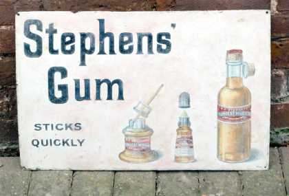 Stephen&#8217;s Ink &#8211; Gums Bottles Enamel Sign