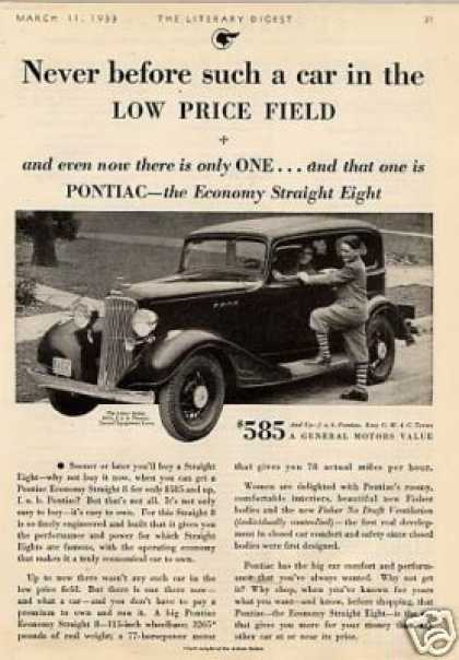 "Pontiac 2-door Sedan Ad ""Never Before Such... (1933)"