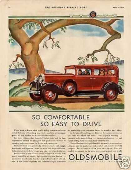 "Oldsmobile Car Color Ad ""So Comfortable... (1930)"