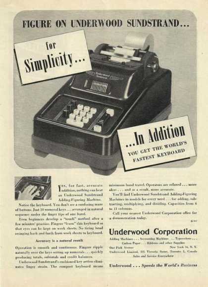 Underwood Adding Machine Sundstrand (1947)