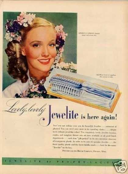 Jewelite Brush Ad Georgia Carroll (1946)