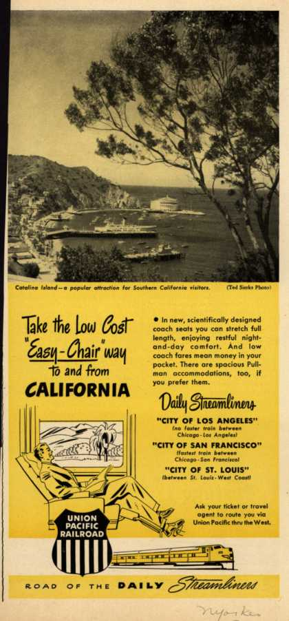 "Union Pacific Railroad's Streamliners – Take the Low Cost ""Easy-Chair"" way to and from California (1950)"