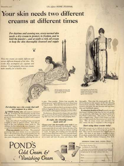 Pond's Extract Co.'s Pond's Cold Cream and Vanishing Cream – You skin need two different creams at different times (1921)