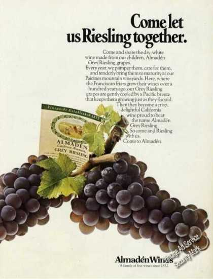 Come Let Us Riesling Together Almaden Wines (1973)
