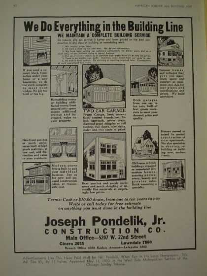 Joseph Pondelik Jr. Construction Co. Cicero and Lawndale (1930)