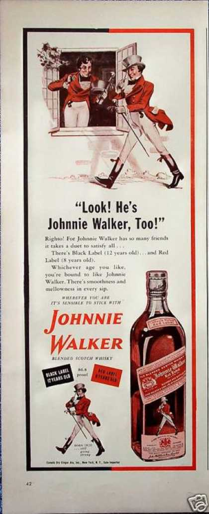 Johnnie Walker Striding Walking Man Window Duet (1942)