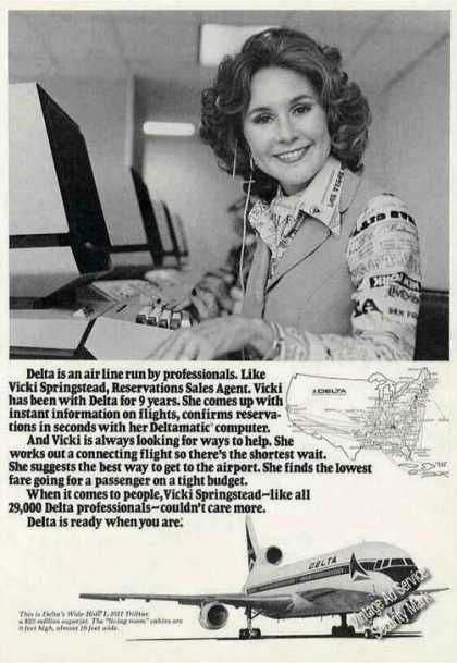 Delta Airlines & Route Map Vicki Springstead (1977)